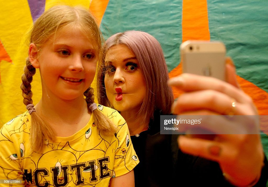 'Australia's Got Talent' judge <a gi-track='captionPersonalityLinkClicked' href=/galleries/search?phrase=Kelly+Osbourne&family=editorial&specificpeople=156416 ng-click='$event.stopPropagation()'>Kelly Osbourne</a> visits patient Georgia Hewitt at Sydney Children's Hospital, Randwick in Sydney, New South Wales.