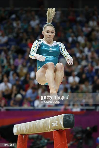 Australia's gymnast Emily Little performs on the beam during the women's qualification of the artistic gymnastics event of the London Olympic Games...