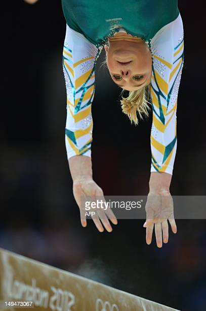 Australia's gymnast Emily Little performs on the floor during the women's qualification of the artistic gymnastics event of the London Olympic Games...