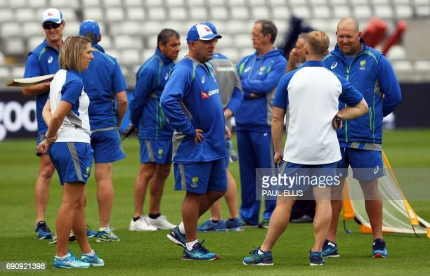 Australia's head coach Darren Lehmann takes part in a training session at Edgbaston cricket ground in Birmingham on May 31 ahead of their forthcoming...