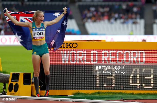 Australia's Isis Holt celebrates setting a world record in the Women's 100m T35 final during day six of the 2017 World Para Athletics Championships...