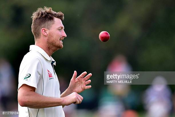 Australia's Jackson Bird prepares to bowl during day four of the second cricket Test match between New Zealand and Australia at the Hagley Park in...