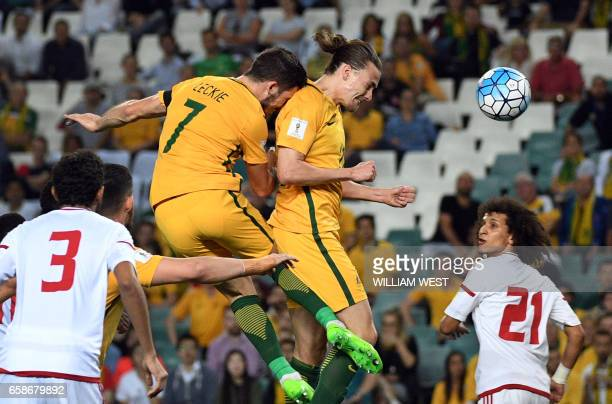 Australia's Jackson Irvine heads home the ball to score against the United Arab Emirates during their World Cup qualifying football match in Sydney...