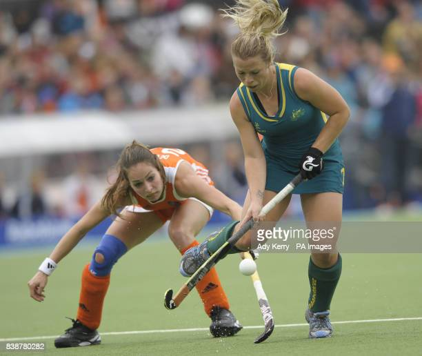 Australia's Jade Warrender gets away from Netherland's Eva de Goede during the Rabo FIH Women's Champions Trophy match at the Wagener Stadium...