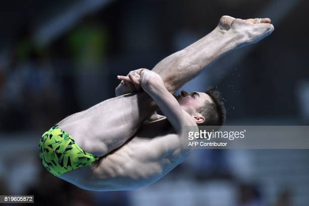 Australia's James Connor competes in the men's 3m springboard final during the diving competition at the 2017 FINA World Championships in Budapest on...