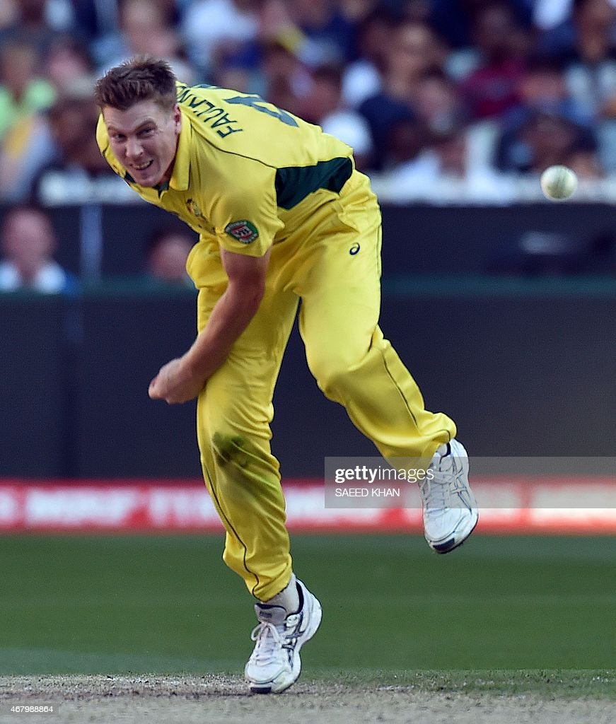 Australia's <a gi-track='captionPersonalityLinkClicked' href=/galleries/search?phrase=James+Faulkner+-+Cricketer&family=editorial&specificpeople=11388189 ng-click='$event.stopPropagation()'>James Faulkner</a> bowls during the 2015 Cricket World Cup final between Australia and New Zealand in Melbourne on March 29, 2015. AFP PHOTO / Saeed KHAN USE--