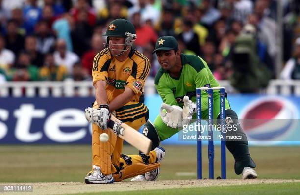 Australia's James Hopes reverse sweeps Pakistan's Mohammed Amir during the Second Twenty20 International match at Edgbaston Birmingham