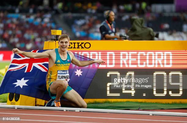 Australia's James Turner celebrates his world record in the Men's 200m T36 final during day four of the 2017 World Para Athletics Championships at...