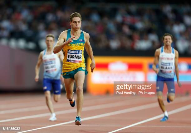 Australia's James Turner crosses the line to win the Men's 200m T36 final during day four of the 2017 World Para Athletics Championships at London...