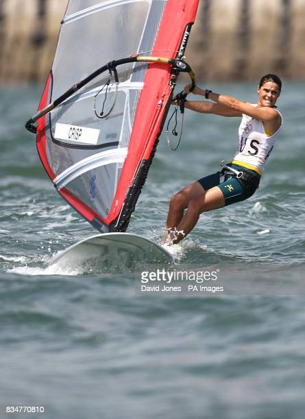 Australia's Jessica Crisp sails in the final round of the Women's RSX Sailing Competition at the Olympic Games' Sailing Centre in Qingdao on day 12...