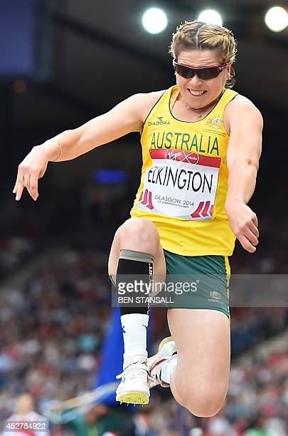 Australia's Jodi Elkington competes in the final of the women's long jump T37/38 athletics event at Hampden Park during the 2014 Commonwealth Games...