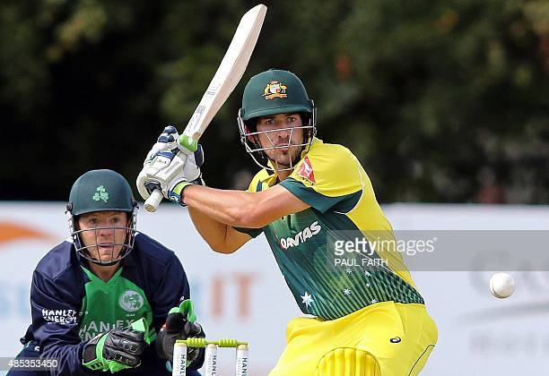 Australia's Joe Burns watches the ball after playing a shot during a one day international cricket match between Ireland and Australia at Stormont...