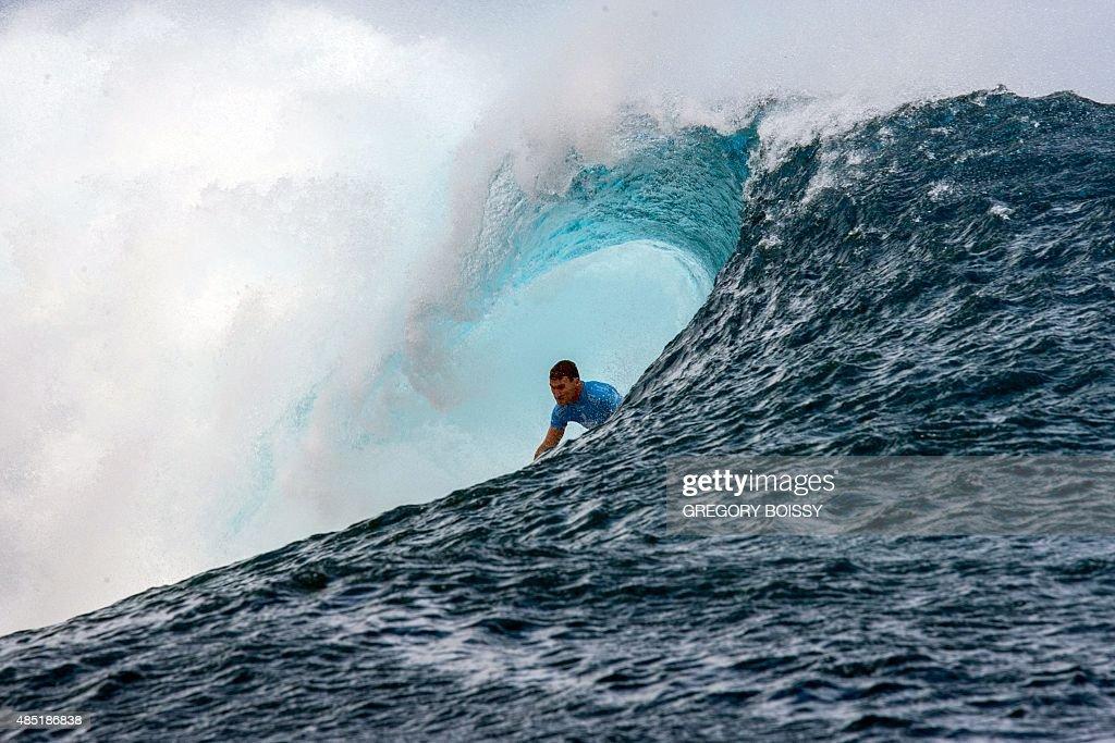 Australia's Joel Parkinson competes in the 2015 Billabong Pro Tahiti World Surf league tour n°3 along the Teahupo'o coast western of the French...
