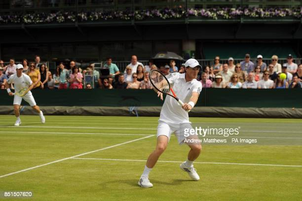 Australia's John Peers in action with partner Great Britain's Jamie Murray during his doubles match against Austria's Jurgen Melzer and USA's James...