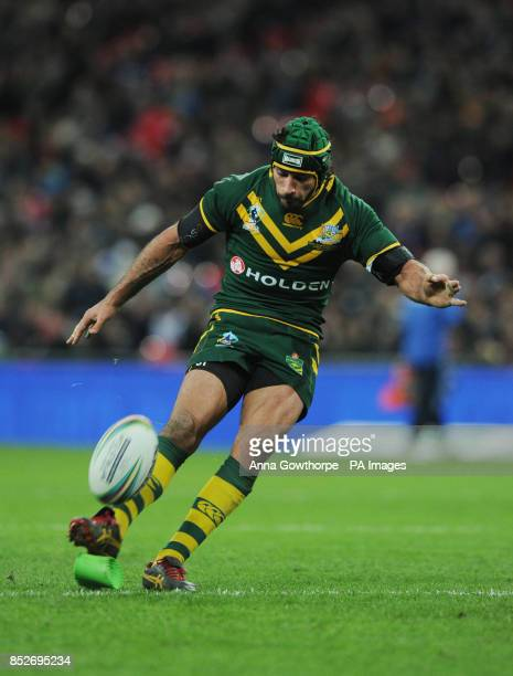 Australia's Johnathan Thurston kicks a conversion during the World Cup Semi Final at Wembley Stadium London