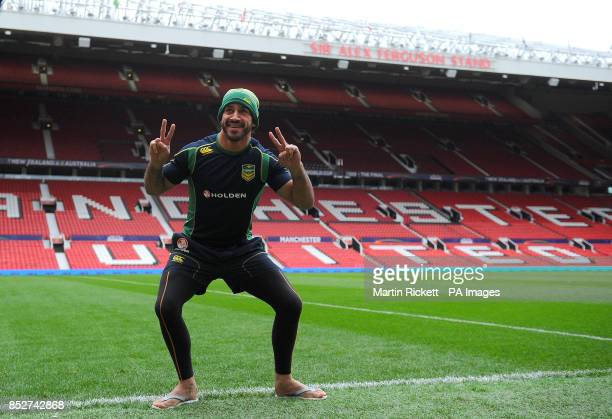 Australia's Johnathan Thurston poses for a picture before the captain's run at Old Trafford Manchester