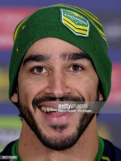 Australia's Johnathan Thurston speaks during a press conference at Old Trafford Manchester