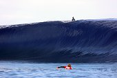 Australia's Kai Otton is seen down the wave as Australia's Dion Atkinson is seen on the line up during the finale of the 14th edition of the...