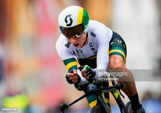 Australia's Katrin Garfoot competes during the women elite individual time trial at the UCI Cycling Road World Championships on September 19 2017 in...