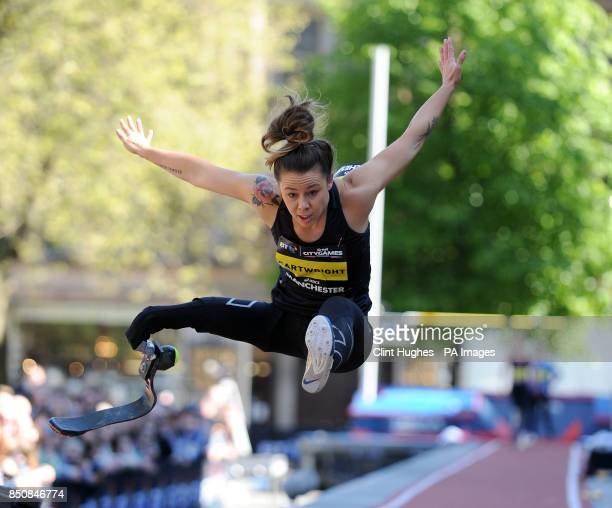 Australia's Kelly Cartwright competes in the IPC long jump women T42/T44 during the BT Great City Games in Manchester
