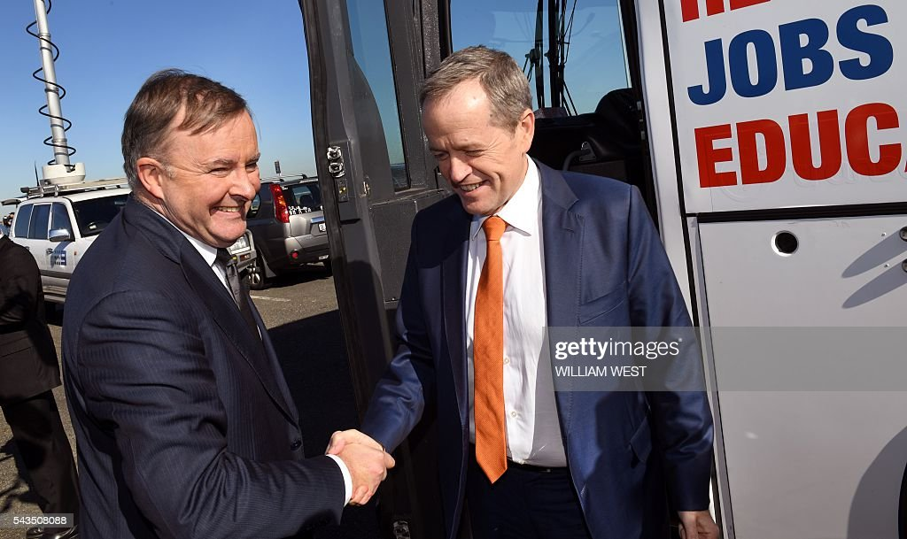 Australia's Labor Party leader Bill Shorten (R) shakes hands with shadow minister for transport and infrastructure Anthony Albanese (L) after speaking to the press at Port Botany in Sydney on June 29, 2016, as he campaigns to become prime minister at an election on July 2. Australians go to the polls faced with a choice between Prime Minister Malcolm Turnbull and Shorten. But there are also more than 50 minor players on the ballot, including a sex party, one for car enthusiasts and another with no policies. / AFP / WILLIAM