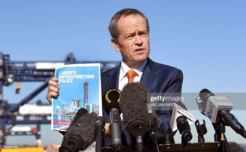 Australia's Labor Party leader Bill Shorten speaks to the press at Port Botany in Sydney on June 29, 2016 as he campaigns to become prime minister at an election on July 2. Australians go to the polls faced with a choice between Prime Minister Malcolm Turnbull and Shorten. But there are also more than 50 minor players on the ballot, including a sex party, one for car enthusiasts and another with no policies. / AFP / WILLIAM