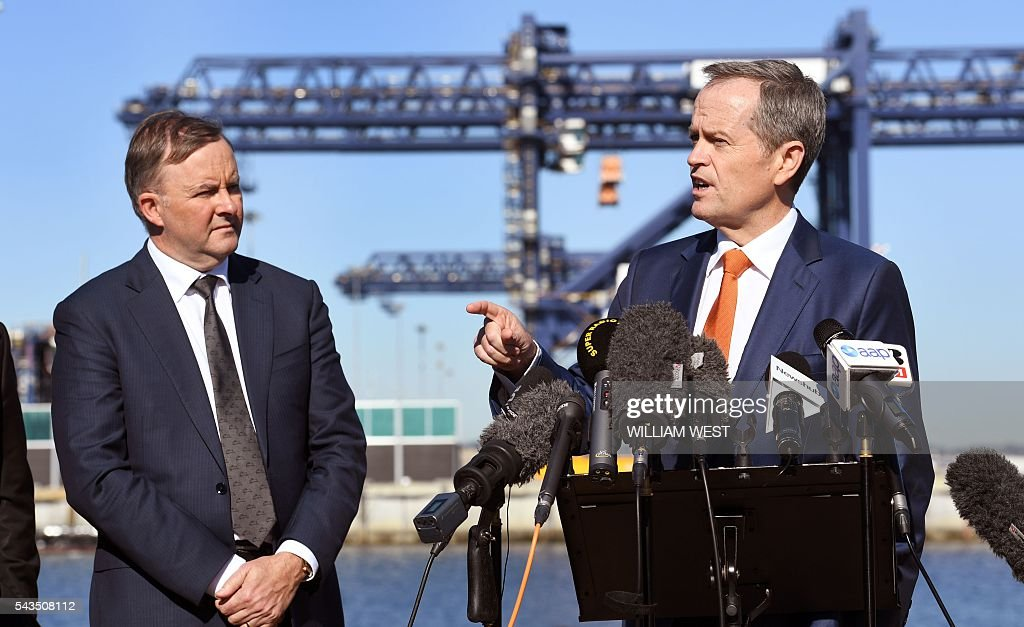 Australia's Labor Party leader Bill Shorten (R) speaks to the press while shadow minister for transport and infrastructure Anthony Albanese (L) listens at Port Botany in Sydney on June 29, 2016, as he campaigns to become prime minister at an election on July 2. Australians go to the polls faced with a choice between Prime Minister Malcolm Turnbull and Shorten. But there are also more than 50 minor players on the ballot, including a sex party, one for car enthusiasts and another with no policies. / AFP / WILLIAM