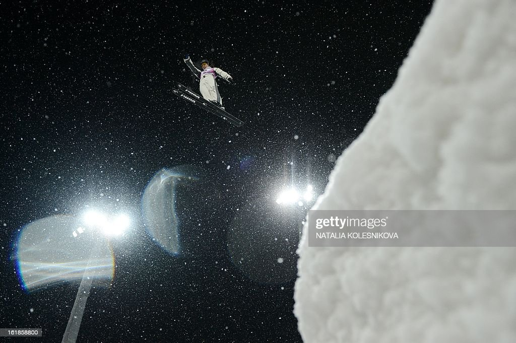 Australia's Laura Peel jumps during the Freestyle Ski World Cup Ladies Aerials Test Event at the Snowboard and Freestyle Center in Rosa Khutor near the Black Sea resort of Sochi, on February 17, 2013. China's Mengtao Xu won ahead of Australia's Laura Peel and Swiss Tanja Schaerer.