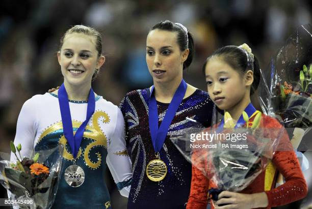Australia's Lauren Mitchell Great Britain's Beth Tweddle China's Lu Sui after competing on the floor during the Gymnastics World Championships at the...