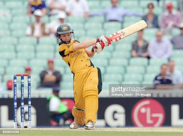 Australia's Leah Poulton bats during the ICC Women's World Twenty20 Semi Final at The Oval London