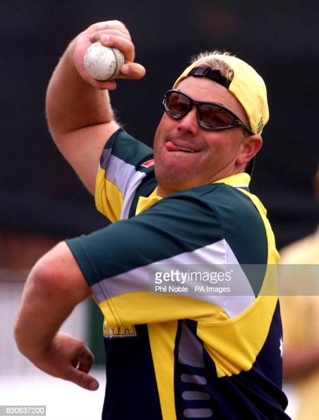 Australia's leg spinner Shane Warne practises in the nets at Old Trafford Manchester ahead of his sides NatWest Series Triangular day/night game...