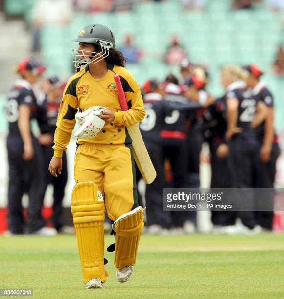 Australia's Lisa Sthalekar leaves the field after being bowled out by Katherine Brunt during the ICC Women's World Twenty20 Semi Final at The Oval...