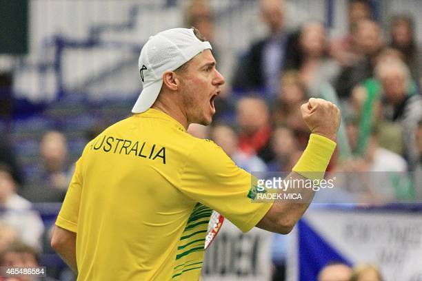 Australia's Lleyton Hewit reacts during the tennis match against Czech players Adam Pavlasek and Jiri Vesely during the first round Davis Cup Czech...