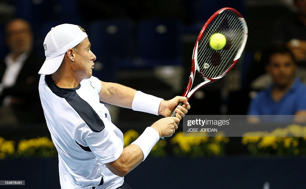 Australia's Lleyton Hewitt returns the ball to Croatia's Ivan Dodig during their tennis match at the Open 500 Valencia at the Agora space in Valencia, on October 24, 2012.