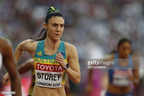 Australia's Lora Storey competes in the women's 800m athletics event at the 2017 IAAF World Championships at the London Stadium in London on August...