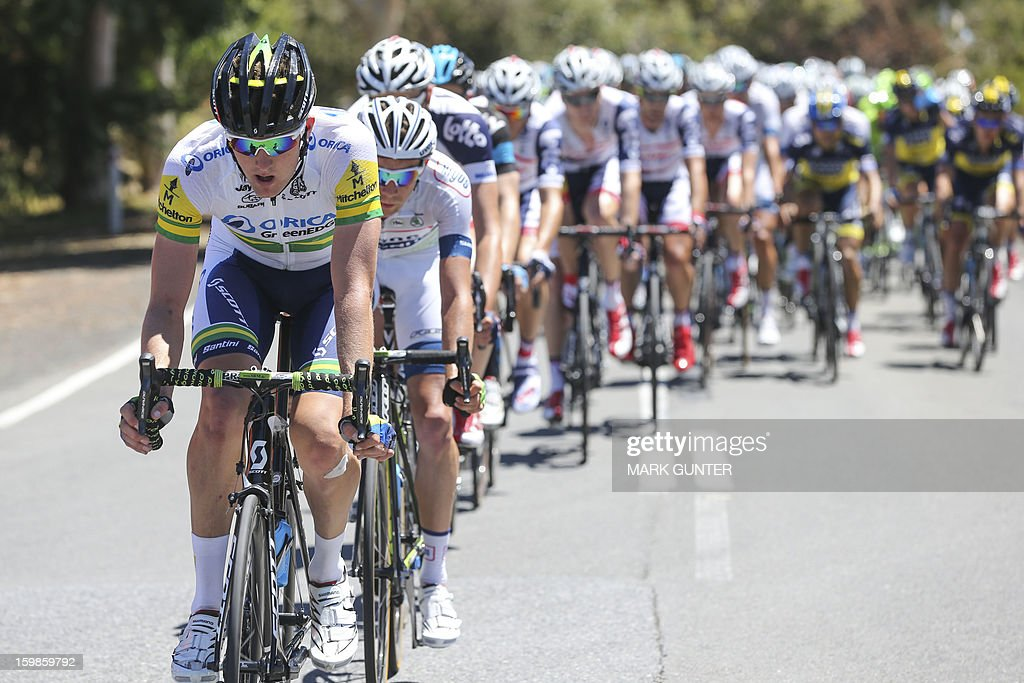 Australia's Luke Durbridge (L) of Orica Greenedge leads the peloton during the 135km stage 1 of the Tour Down Under in Adelaide on January 22, 2013.The six-stage Tour Down Under takes place from January 20 to 27. AFP PHOTO / Mark Gunter USE