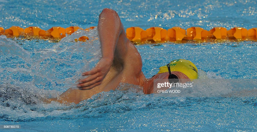 Australia's Mack Horton swims to win the 1500m freestyle event at the final day of the Aquatic Super Series swimming event in Perth on February 6, 2016. AFP PHOTO / Greg WOOD WOOD