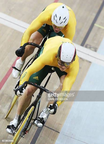 Australia's Mark French and Shane Kelly compete in the 2008 Beijing Olympic Games men's track cycling team sprint qualifying at the Laoshan Velodrome...
