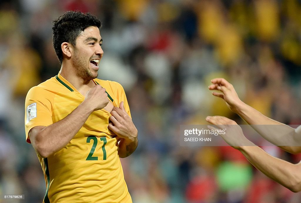 Australia's Massimo Luongo celebrates his goal against Jordan during the World Cup Asian qualifier football match between Australia and Jordan in Sydney on March 29, 2016. / AFP / SAEED KHAN / IMAGE RESTRICTED TO EDITORIAL USE - STRICTLY NO COMMERCIAL USE