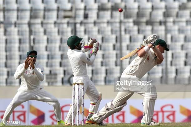 Australia's Matt Renshaw plays a shot during day three of the First Test match between Bangladesh and Australia at Shere Bangla National Stadium on...