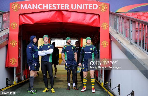 Australia's Matt Smith Brent Tate Johnathan Thurston and Cooper Cronk walk out onto the Old Trafford pitch during the captain's run at Old Trafford...