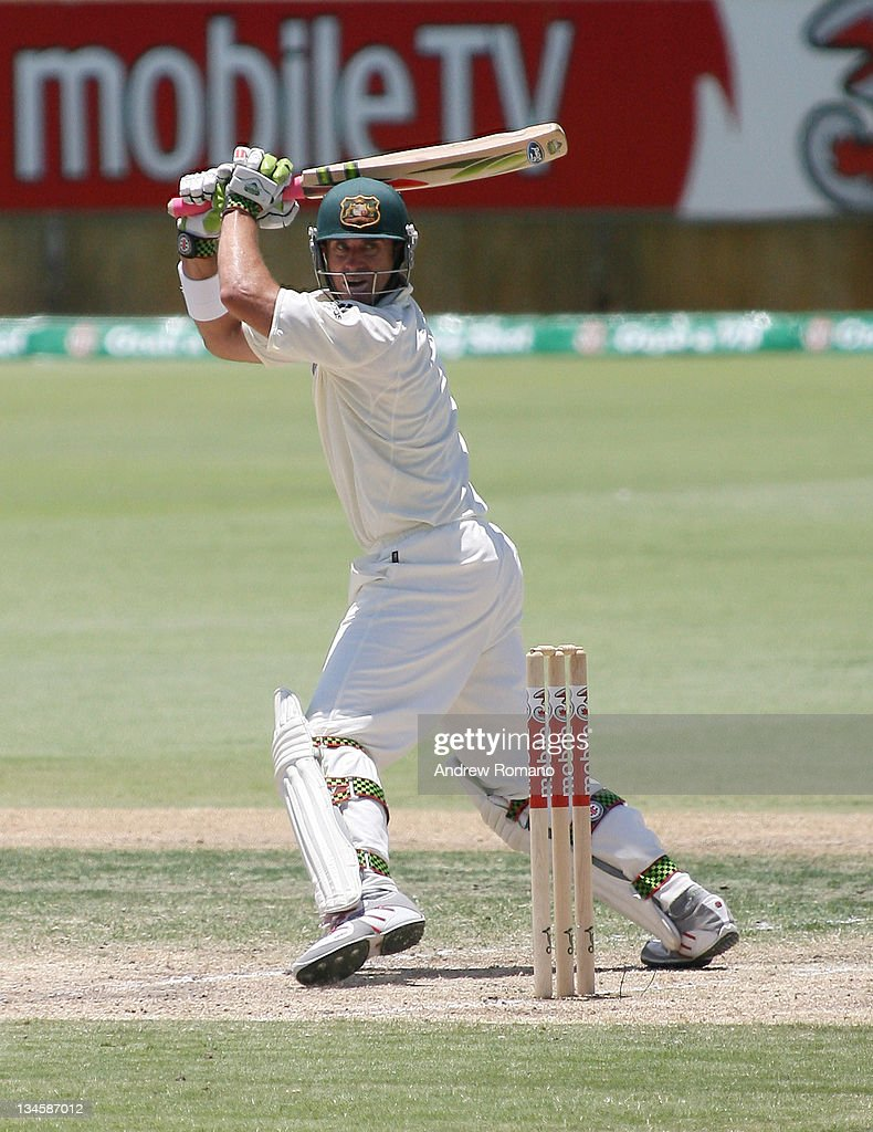 Australia's Matthew Hayden sends the ball off to Collingwood for his dismissal during day three of the third Ashes test between Australia and England at the WACA Perth Ground in Perth, Australia on December 16, 2006.