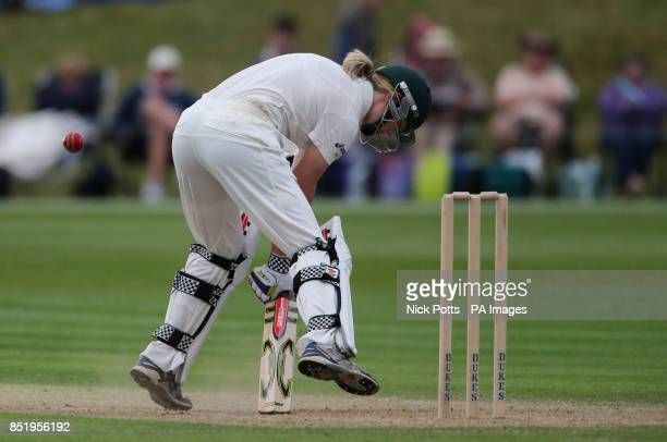 Australia's Meg Lanning hits a yorker from England bowler Anya Shrubsole during third day of First Womens Ashes test match at Wormsley Cricket Ground...