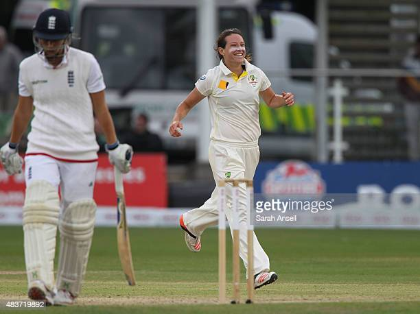 Australia's Megan Schutt celebrates after dismissing England's Natalie Sciver during day two of the Kia Women's Test of the Women's Ashes Series...