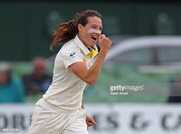 Australia's Megan Schutt celebrates after dismissing Laura Marsh of England during day two of the Kia Women's Test of the Women's Ashes Series...