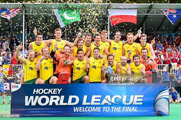 OUT** Australia's men's field hockey team celebrates after defeating Belgium in the finals of the men's Hockey World League tournament on July 5 2015...