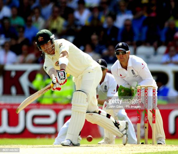 Australia's Michael Clarke bats during the fourth test at Headingley Leeds