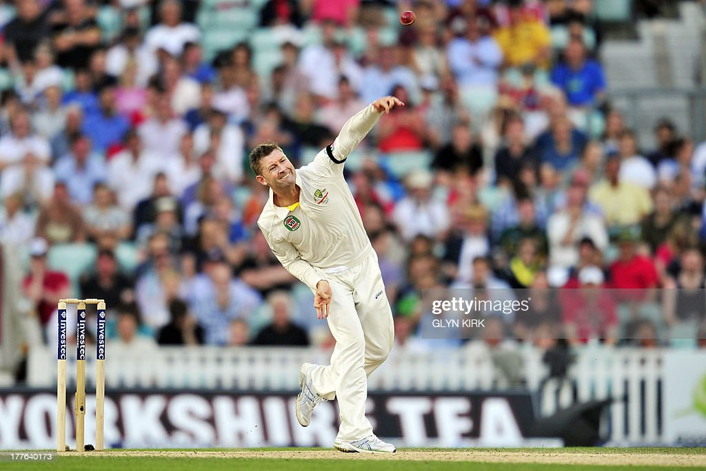 Australia's Michael Clarke bowling during play on the fifth day of the fifth Ashes cricket test match between England and Australia at The Oval cricket ground in London on August 25, 2013. England were set a target of 227 to win the fifth Ashes Test in a minimum of 44 overs after Australia declared their second innings on 111 for six at tea on the final day at The Oval on Sunday.