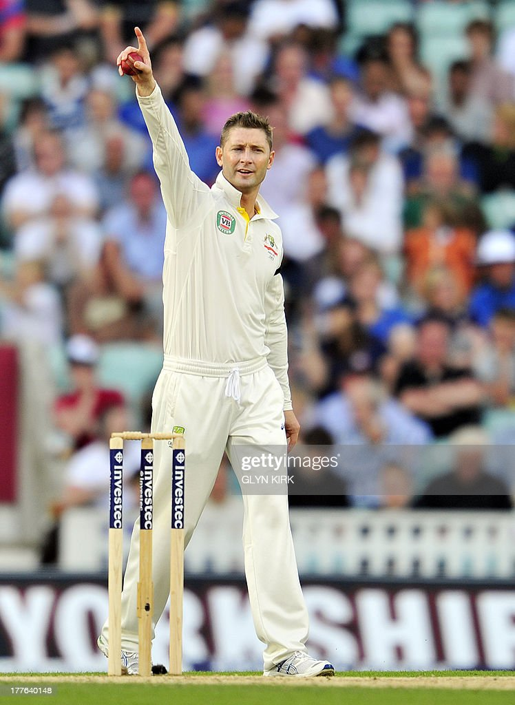 Australia's Michael Clarke gestures during play on the fifth day of the fifth Ashes cricket test match between England and Australia at The Oval cricket ground in London on August 25, 2013. England were set a target of 227 to win the fifth Ashes Test in a minimum of 44 overs after Australia declared their second innings on 111 for six at tea on the final day at The Oval on Sunday.