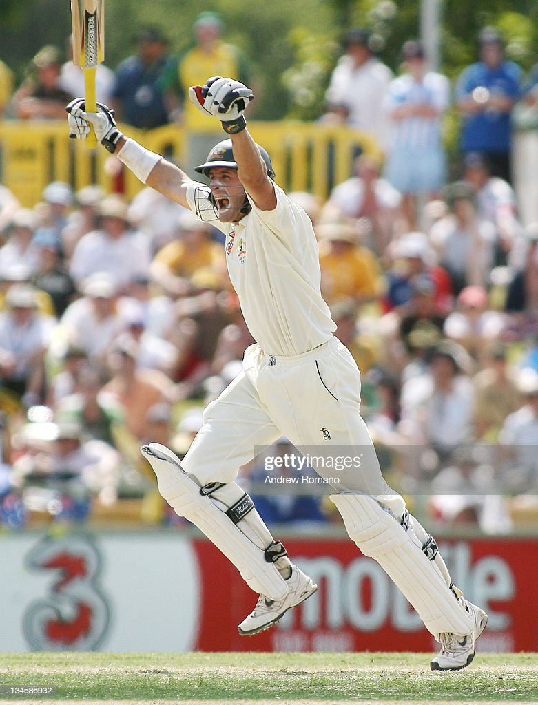 Australia's <a gi-track='captionPersonalityLinkClicked' href=/galleries/search?phrase=Michael+Hussey&family=editorial&specificpeople=171690 ng-click='$event.stopPropagation()'>Michael Hussey</a> celebrates 100 runs during day three of the third Ashes test between Australia and England at the WACA Perth Ground in Perth, Australia on December 16, 2006.